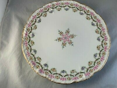 Antique Jean Pouyat Limoges France Pink Roses, Blue Flowers, Green Wreath Plate