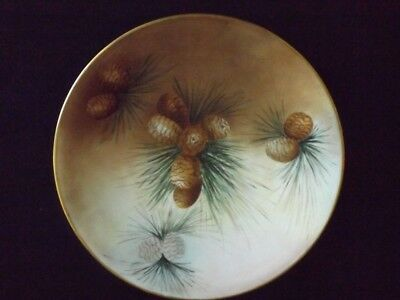 """Antique Hand Painted T & V Limoges France 8 1/2 """" Signed Plate  Pine Cone Boughs"""