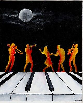 "Jazz dancers original acrylic on canvas board artist signed painting 8""x10"" OOAK"