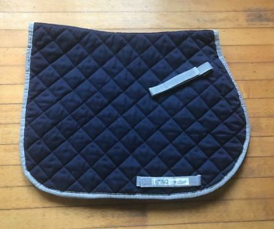 Amigo Horseware Cotton Quilted All Purpose Pad - Navy Blue With Silver Piping
