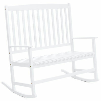 Best Choice Products 2-Person Rocking Chair w/ Contoured Seat (White)