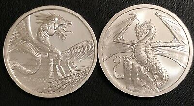 The Aztec + The Welsh 1 Oz Silver Rounds - World Of Dragons Bu First 2 In Series