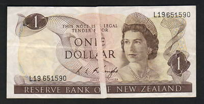 NEW ZEALAND - ERROR Note. $1 Knight - (1975-77). 4mm wide vertical paper crease