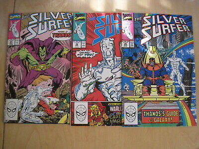 SILVER SURFER issues 35,36,37 c.VFN - NM. Infinity Gauntet, THANOS. 1990, MARVEL