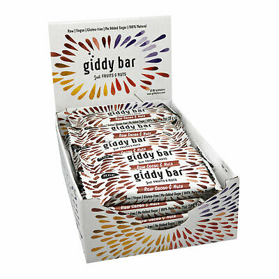 Giddy Bar 20 Vegane Snackriegel Sorte Raw Cacao & Nuts - Ohne Zuckerzusatz
