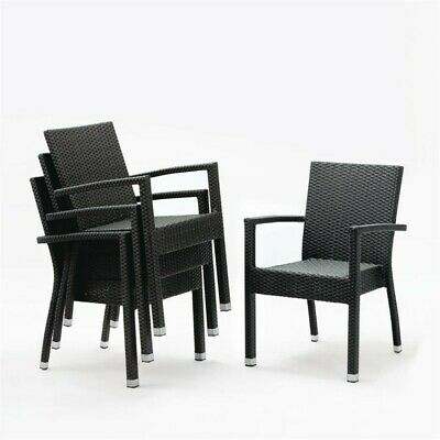 Bolero Kunststoffrattanstuhl Black/Anthracite (Box 4) Kitchen Chair