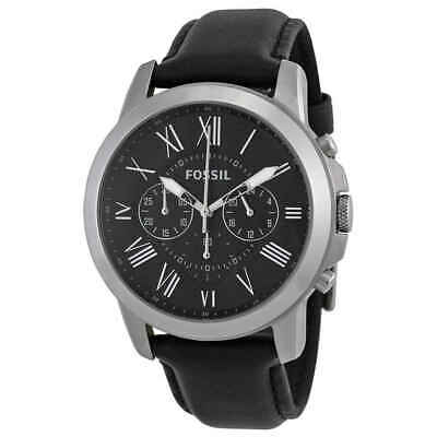 Fossil Grant Black Dial Black Leather Men's Watch FS4812IE