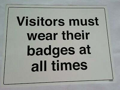 "VSafety 72040BF-R ""Visitors must wear their badges at all times"", Rigid Plastic"