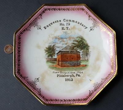 1912 Pittsburgh,Pennsylvania Fort Duquesne Knight's Templar KT #72 china plate!*