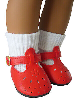 """For 18"""" American Girl Red T-Strap Shoes & Socks Molly Kit Maryellen Emily"""