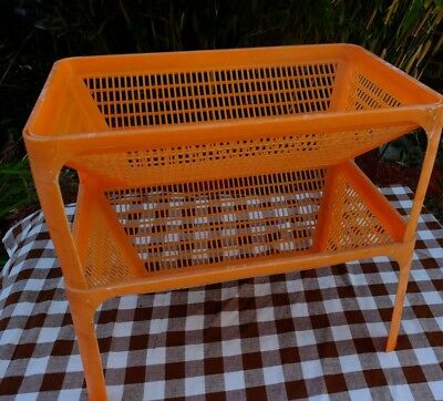 Vintage Lightly Shabby Orange Plastic Retro Vegetable Kitchen Storage Rack