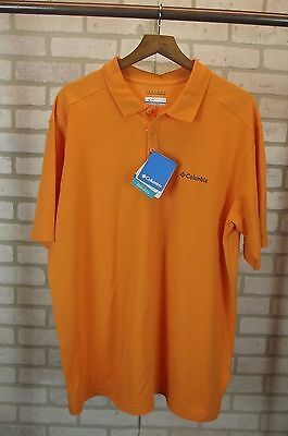6ef916ec1d0 NEW  36 Mens Columbia Elm Creek Polo Shirt Size XL X-Large Orange Short  Sleeve