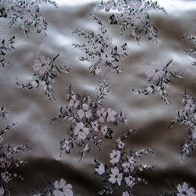 50cm x 108cm Fabric Vintage Satin 1950s Couture Damask Pink Silver Floral Dress
