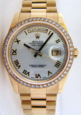 1a910fc00ef87 Rolex Day Date President Gold Mother of Pearl Roman Diamond 118348 - WATCH  CHEST