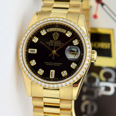 6581617e14fe8 ROLEX DAY DATE President Gold Blue Diamond Dial 118238 - WATCH CHEST ...