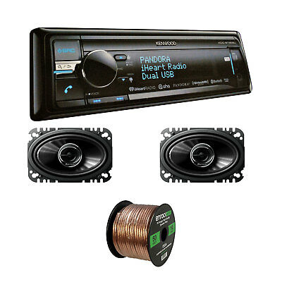 Kenwood Bluetooth Stereo w/TSG4645R 200W Car Speakers & Enrock 16G Speaker Wire
