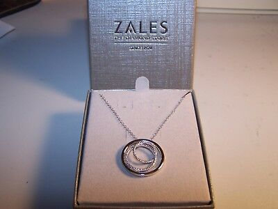 New Zales Triple Circle Diamond Accent Sterling Silver Pendant And Chain Nib