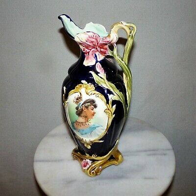 "Antique Victorian Porcelain Portrait Flower Vase European Cobalt Blue 12"" Tall"