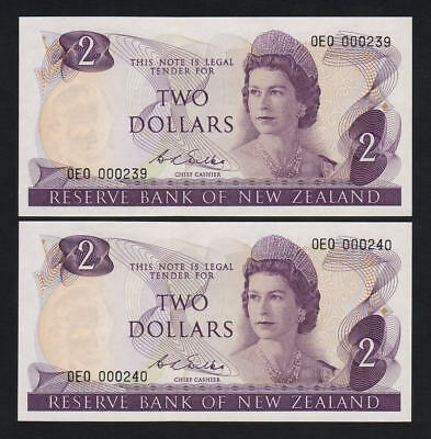 New Zealand  P-164b(F). (1968) $2 - STAR Notes. 1st Pref OEO.. UNC - CONSEC Pair