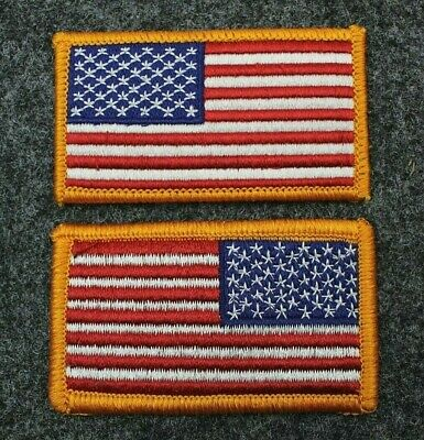 US American Flag Patch Red White Blue Yellow Border Hook & Loop Back