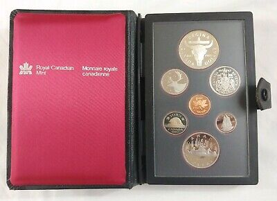 1982 Royal Canadian Mint Proof Set w/ Silver Bison Dollar 7 Coins Box & COA
