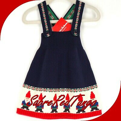 db7a61e4c8 Nwt Hanna Andersson Gnome Sweet Gnome Sweater Dress Navy Blue 75 12-18 M