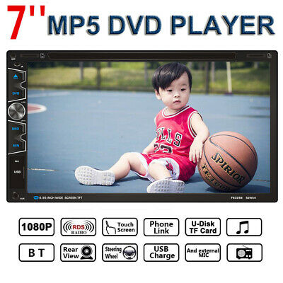 "7"" Double 2 DIN Car MP5 MP3 DVD Player Touch Screen Stereo Radio Remote Control"