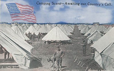 1918 World War I WWI Camp, Soldiers, Tents, Flag Military Postcard