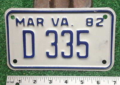 MOTORCYCLE LICENSE PLATE - VIRGINIA - 1982 DEALER issue, very nice all original