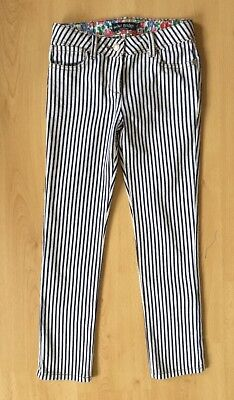 Mini Boden Girls Trousers Jeans 10 Years Stripy Summer Casual Navy White EUC