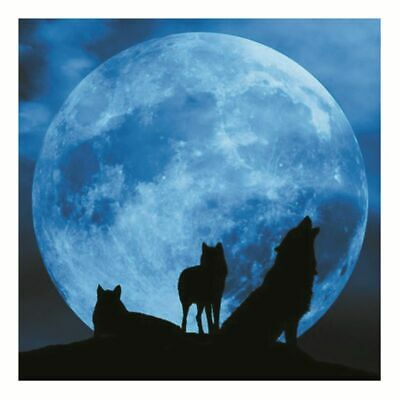 Luminous Wolf Moon DIY 3D Wall Sticker Glow In The Dark Home Decor Bedroom Decal