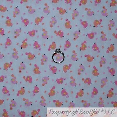 BonEful FABRIC FQ Cotton Quilt White Pink Baby Girl Sea Turtle Tiny Small Little