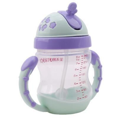 Baby Kids Feeding Drinking Water Straw Bottle Sippy Suction Cup Bottles Cups LA