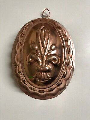 Vintage Retro Pink Anodised Jelly Mousse Mould Wall Hanging Fluer De Lis Pattern