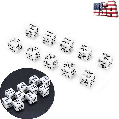 10Pcs White D6 Dice Counters +1/+1 For Magic: The Gathering & CCG MTG Games Tool