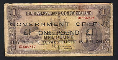 FIJI P-45a (1942) 1 Pound. Black Overprint on N.Z. Lefeaux £1. Red Serials. VG-F