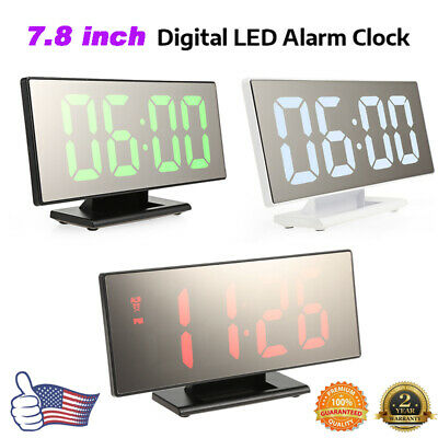 Digital Mirror Alarm Clock Night Light Thermometer LED Large Display USB Battery