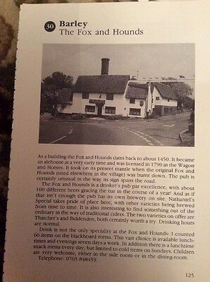 74-5 EPHEMERA 1996 Picture Pub The Fox And Hounds Barley 1 Page