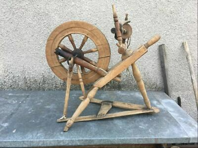Very Rare Unusual Vintage Antique Hand Made Wooden Metal Spinning Wheel Working