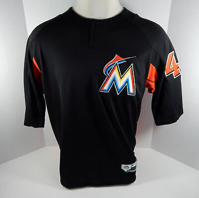 4d0b13a1a99 2018 Miami Marlins  44 Game Issued Black Batting Practice Jersey