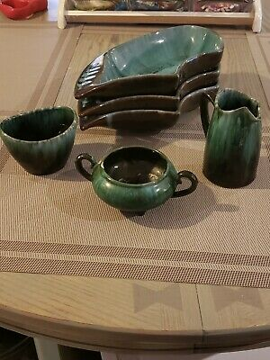 Blue Mountain Pottery 3 leaf plates, sugar creamer set, small bowl with arms