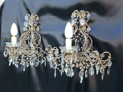 PAIR ANTIQUE ITALIAN CRYSTAL BEADES DIRECTOIRE CHANDELIER WALL SCONCE 19th