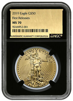 2019 1 oz Gold American Eagle $50 NGC MS70 FR Black Core Gold Foil SKU57145