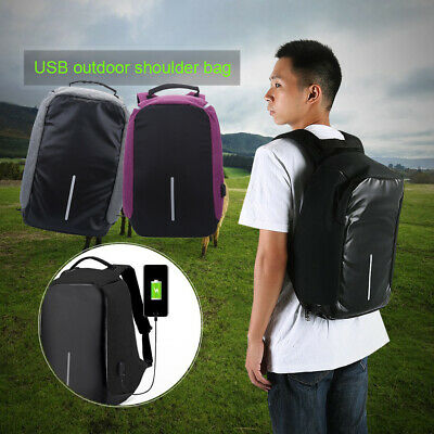 Unisex Anti-Theft Backpack Laptop USB Port Charger Travel School Laptop Bag CA