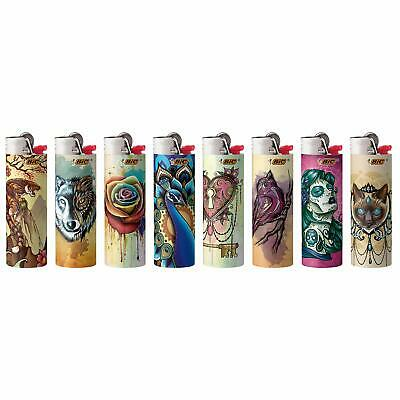 New BIC Special Edition Tattoos Series Lighters Set of 8 Lighters (2019 Edition)