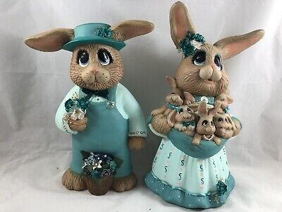 Set of 2 Dressed Bunny Rabbits Easter  *Ceramic Bisque Ready to Paint