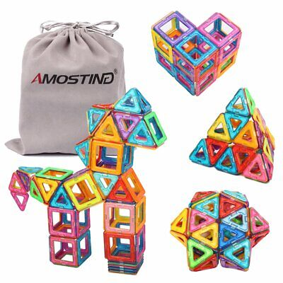 AMOSTING 64pcs Magnetic Building Blocks Set Educational Kids Toys Storage Bag