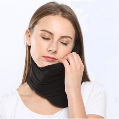Travel Pillow Scientifically Proven Neck Support Airplane Pillow Scarf Black