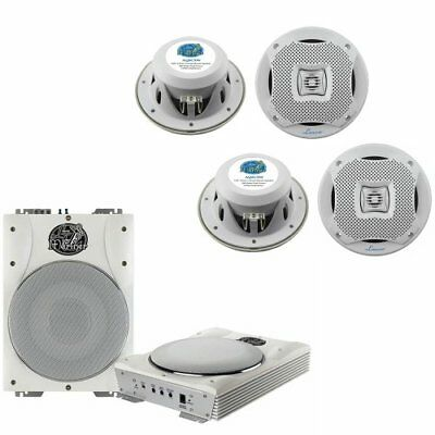 Lanzar 5.25''2-Way Marine Speakers+Active Amplified Waterproof Subwoofer System