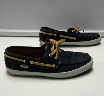 10025ad952c VANS SURF SIDERS Blue Canvas Casual Lace Up Slip On Boat Shoes Size 7.5  B4782